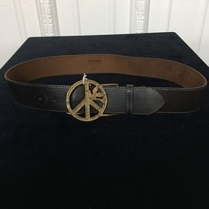 Tracy Watts Black Belt with Peace Sign Buckle